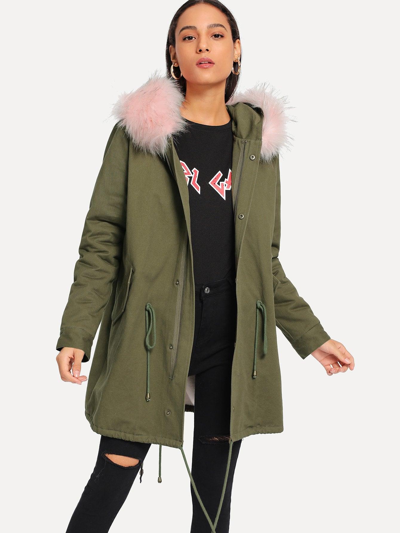 Купить Пальто из искусственной меха с завязкой, Kary, SheIn