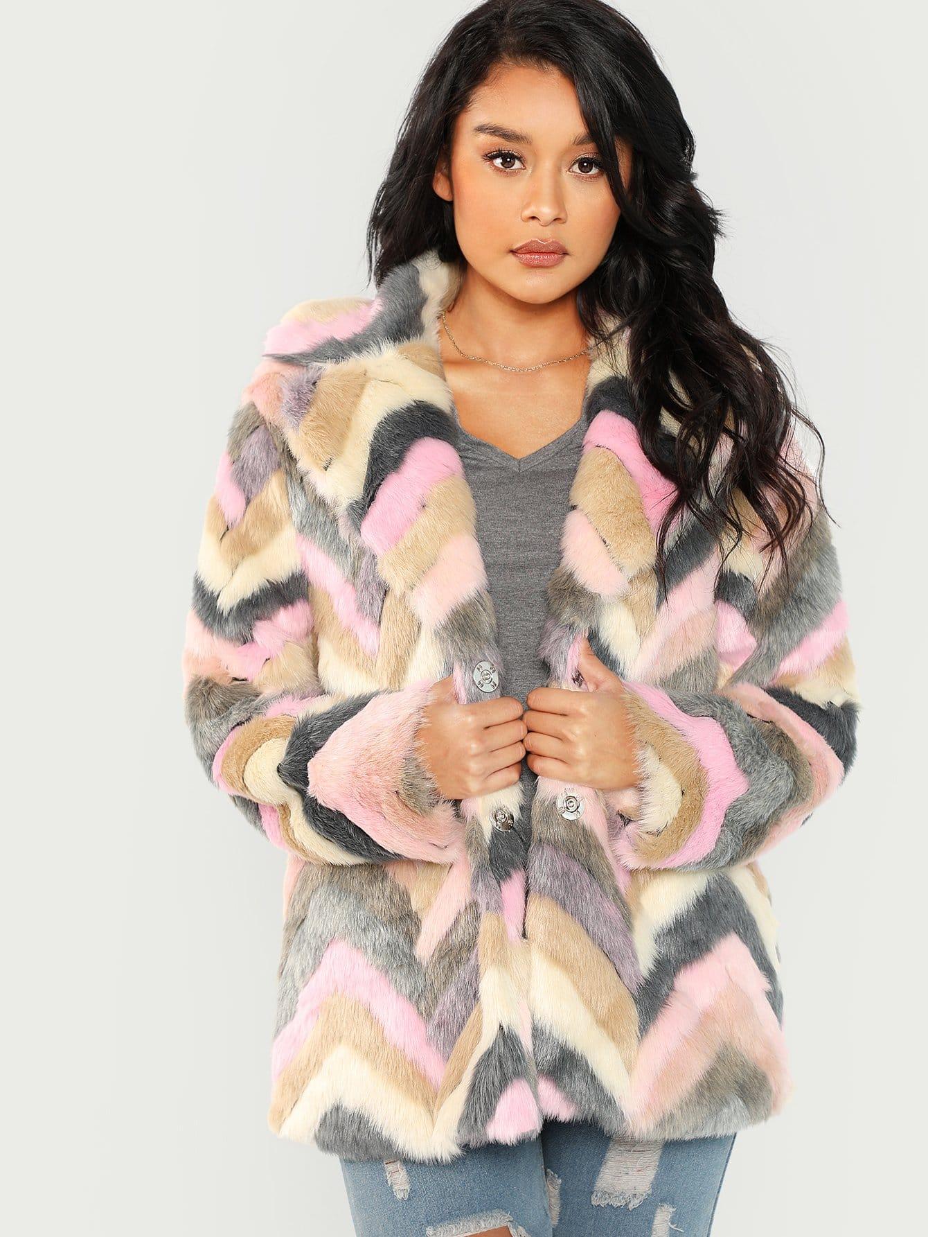 Купить Длинное пальто из искусственного меха, Muriel Villera, SheIn