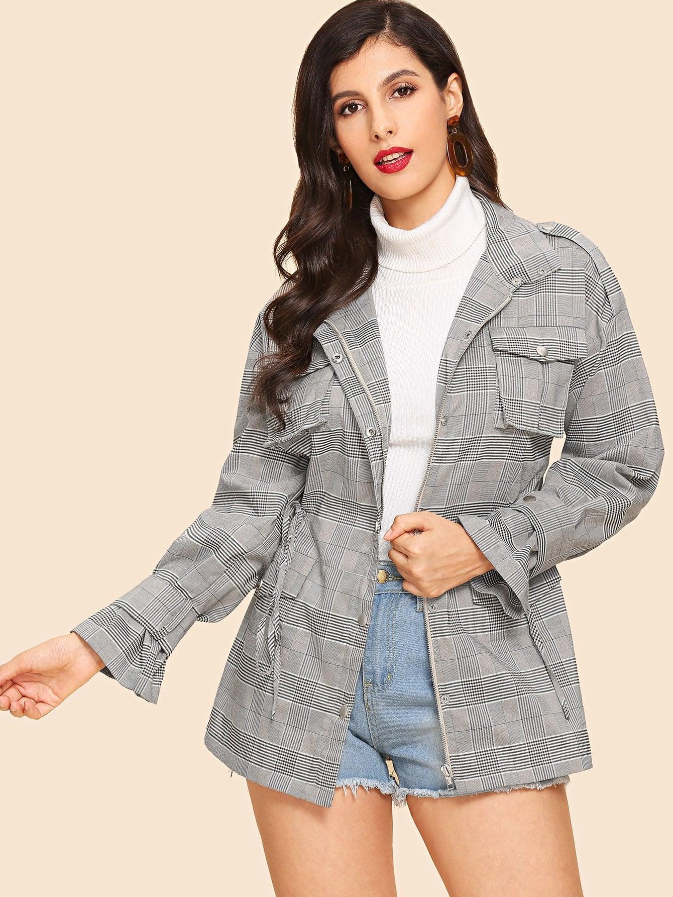 Пальто в клетку и с басоном эластичным и карманом SheIn