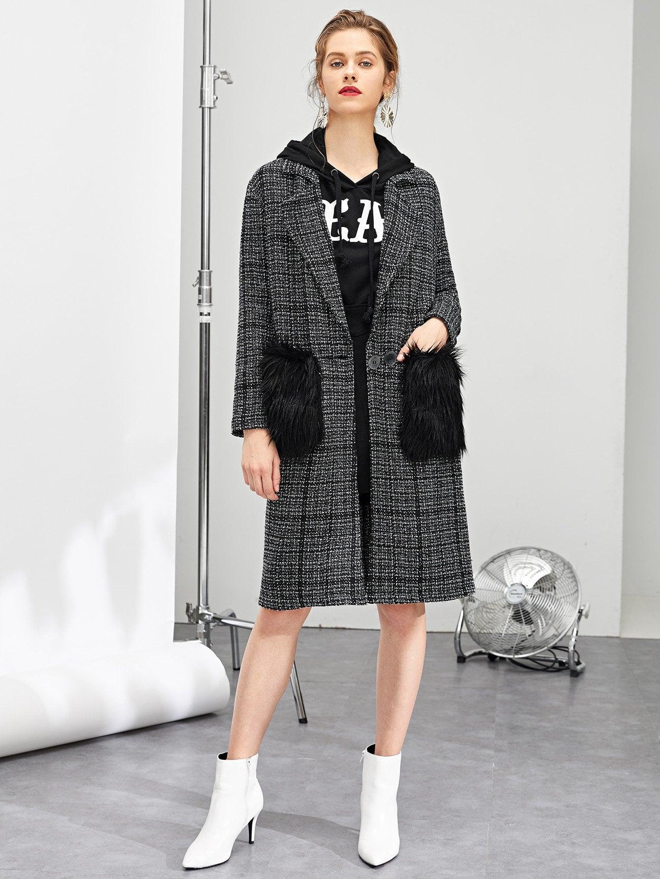 Пальто в клетку и из искусственных мехов и с карманами SheIn