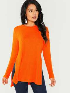 Neon Orange Dip Hem Split Side Casual T-shirt