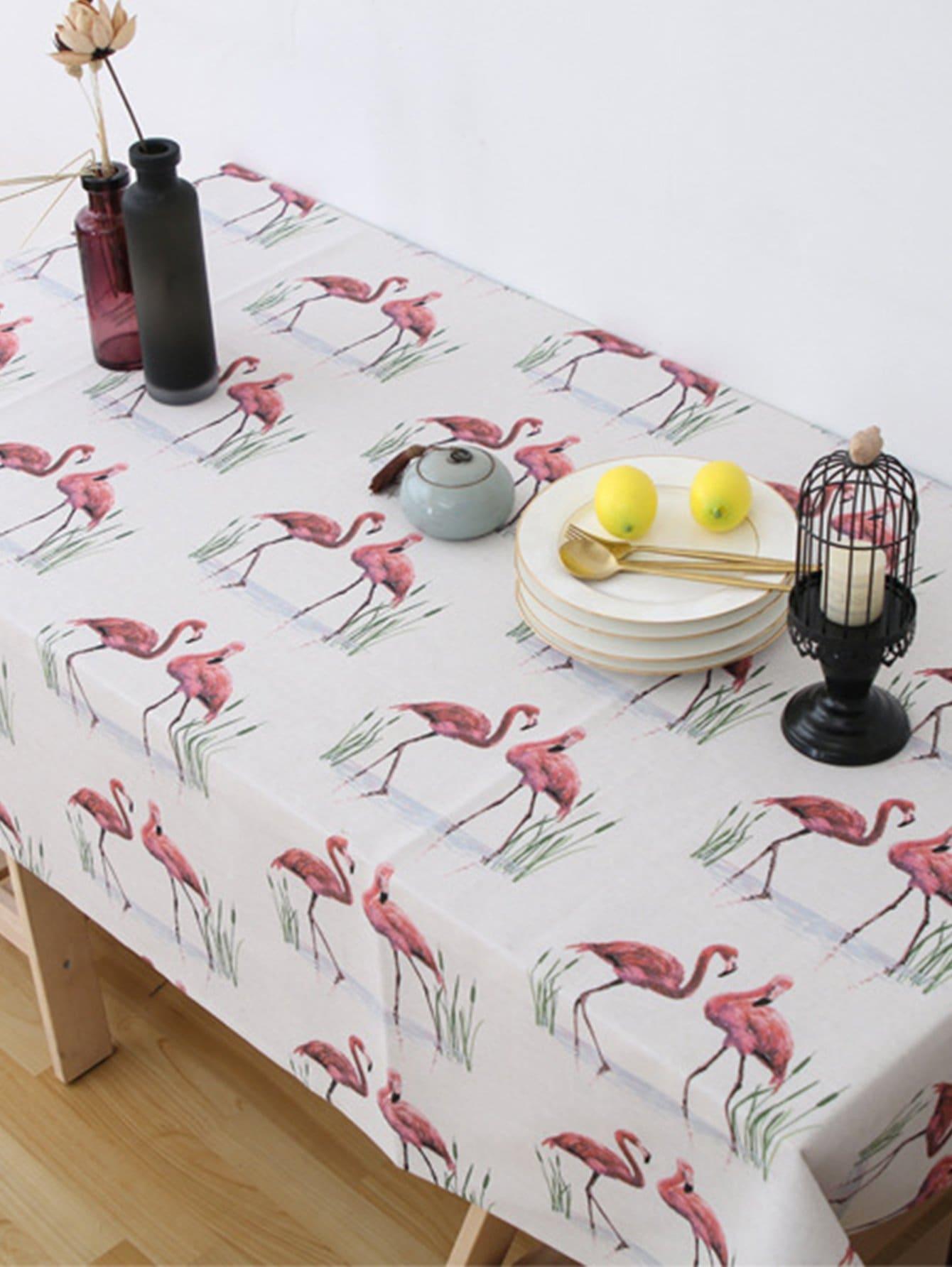 Купить Обеденная скатерть с принтом фламинго, null, SheIn