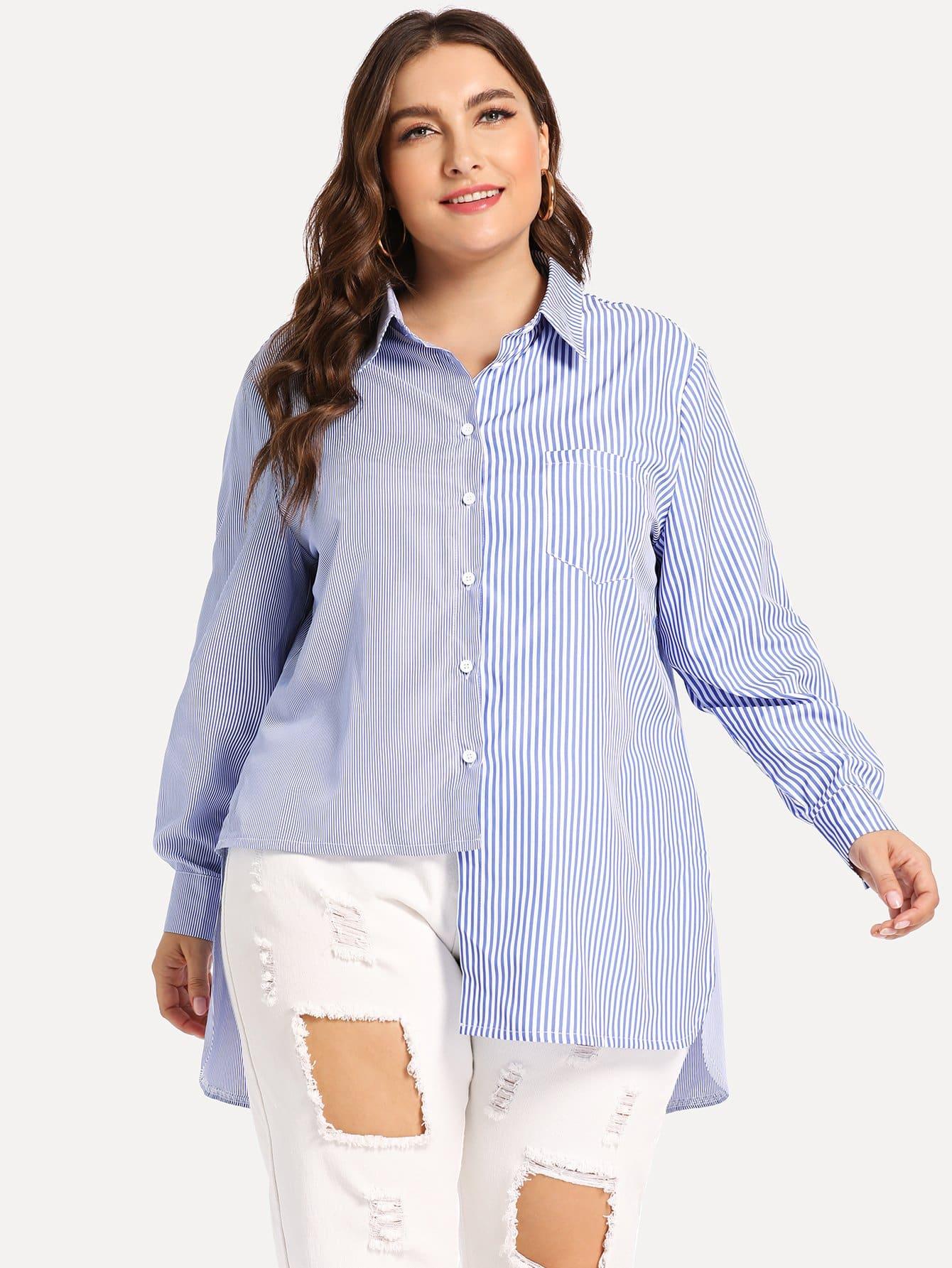 Купить Многихцветные Пуговица Полосатый Повседневные Блузы размера плюс, Franziska, SheIn