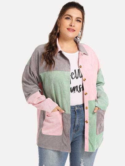 SheIn / Plus Colorblock Button Front Outerwear