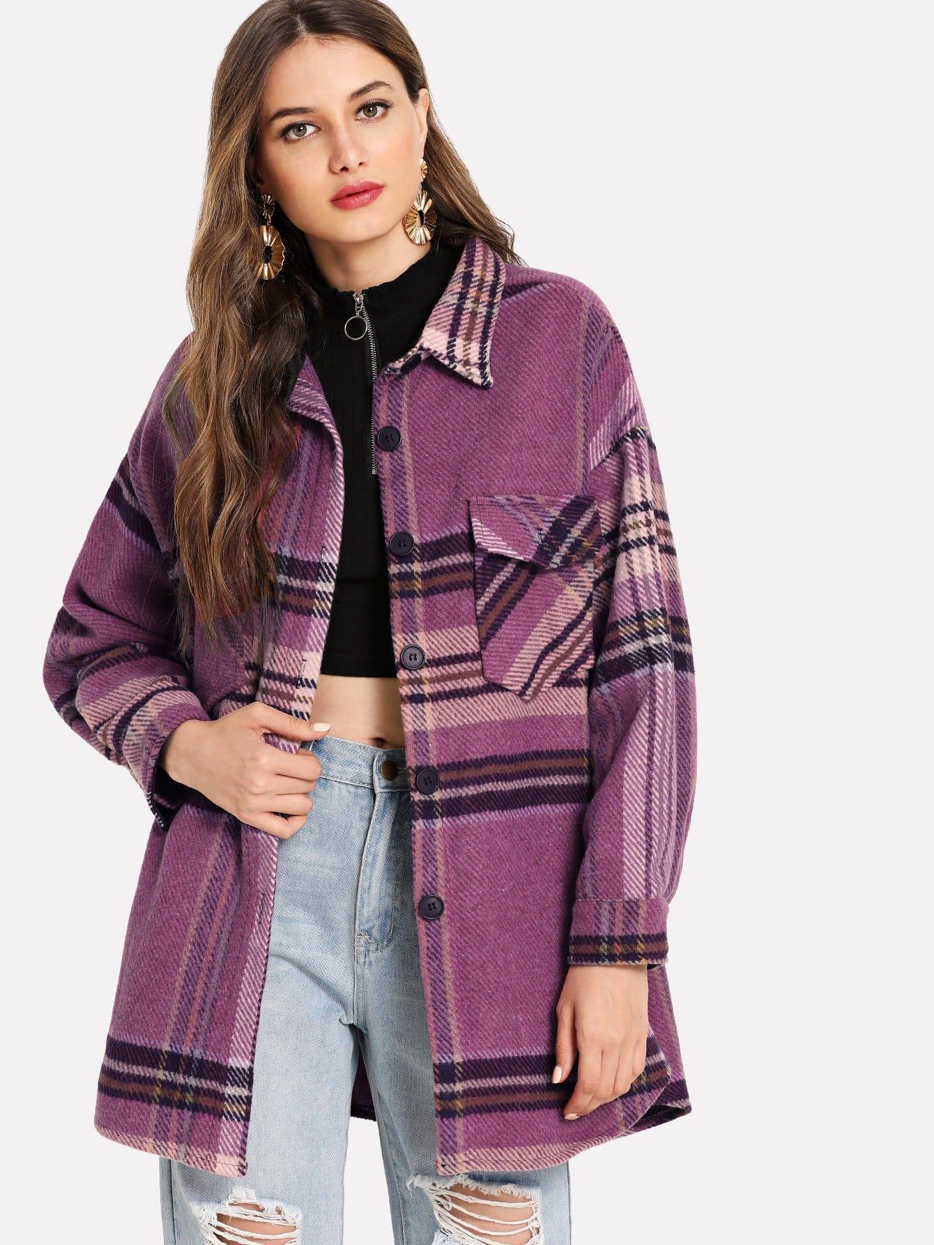 Пальто в клетку с карманами SheIn