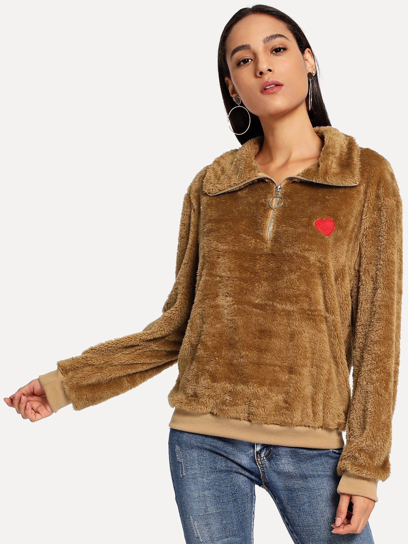 Купить Свитшот Teddy с вышивкой и застёжкой молния, Kary, SheIn