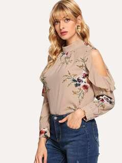 Open Shoulder Ruffle Trim Floral Blouse