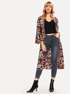 Contrast Binding Flounce Sleeve Floral Longline Kimono