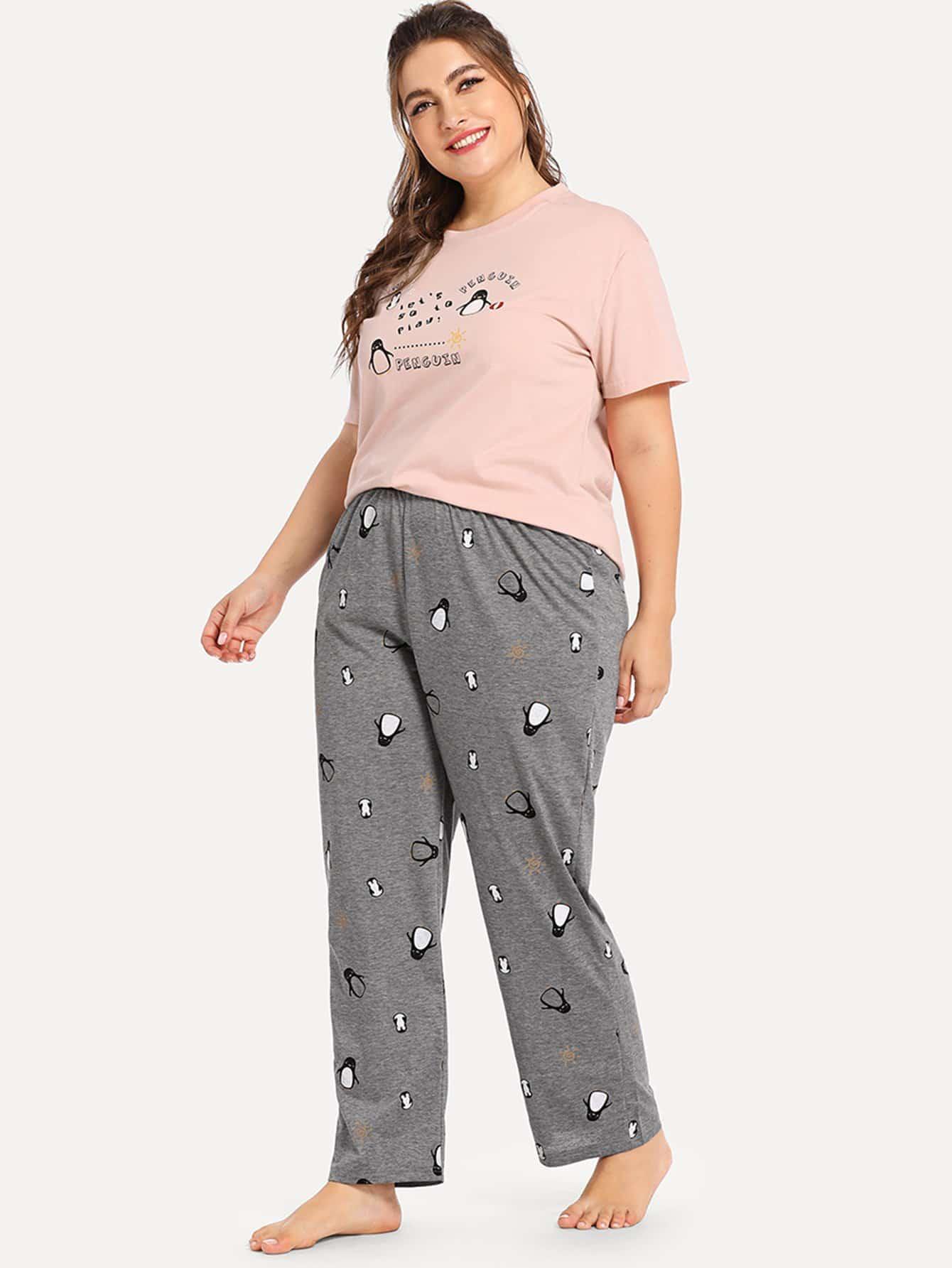Купить Комплект большой пижамы с принтом пингвина и букв, Franziska, SheIn