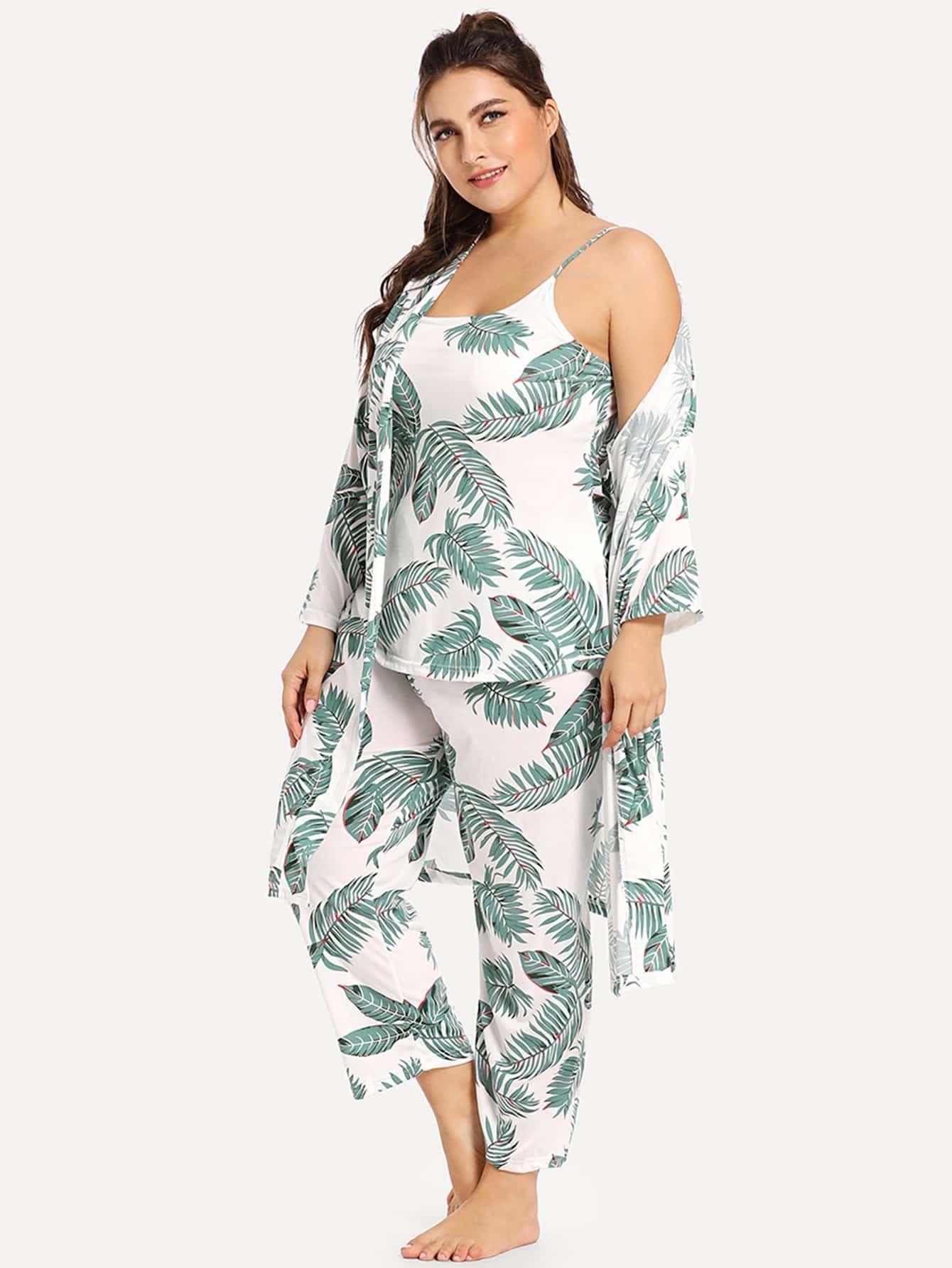 Купить Комплект пижамы на бретелях с принтом пальмовых листьев и домашний халат, Franziska, SheIn