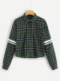 Pocket Patched Plaid Shirt