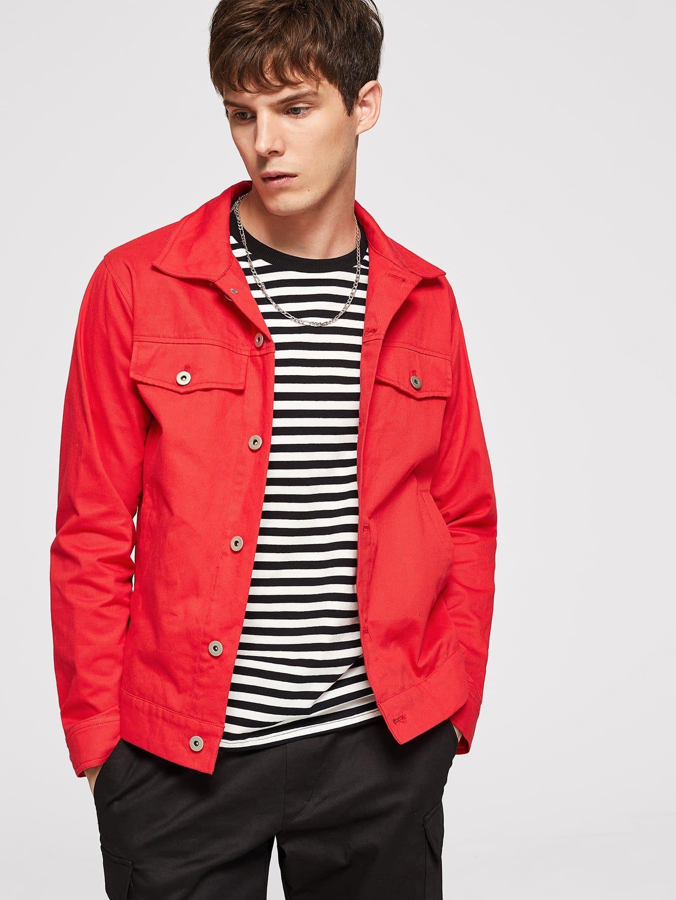 Купить Мужская пуговица и карманная куртка с воротником, Roman P, SheIn