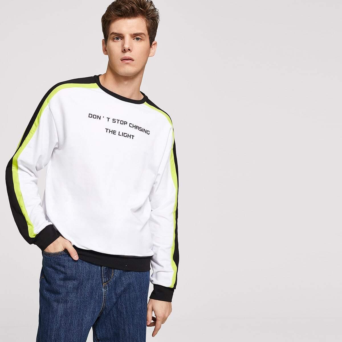 Wit Casual Gestreept Sweatshirts voor heren
