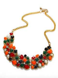 Multicolor Drop Gemstone Necklace