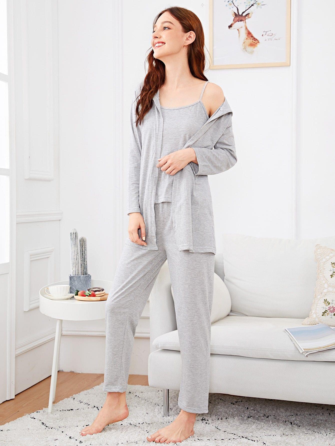 Купить Комплект простой пижамы на бретелях и домашний халат с капюшоном, Poly, SheIn