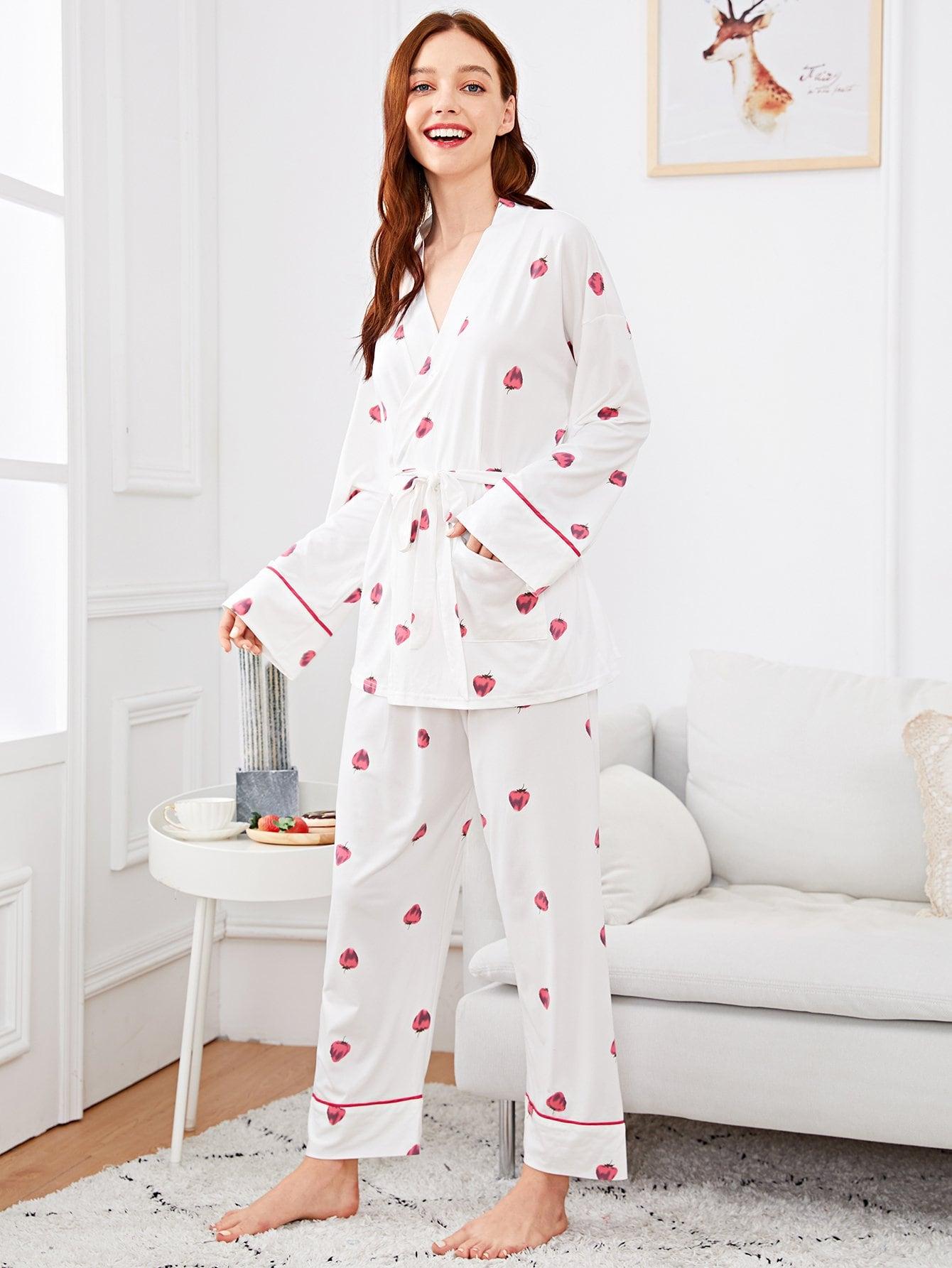 Купить Комплект пижамы с запахом и принтом злямльник и повязка на глаза, Poly, SheIn