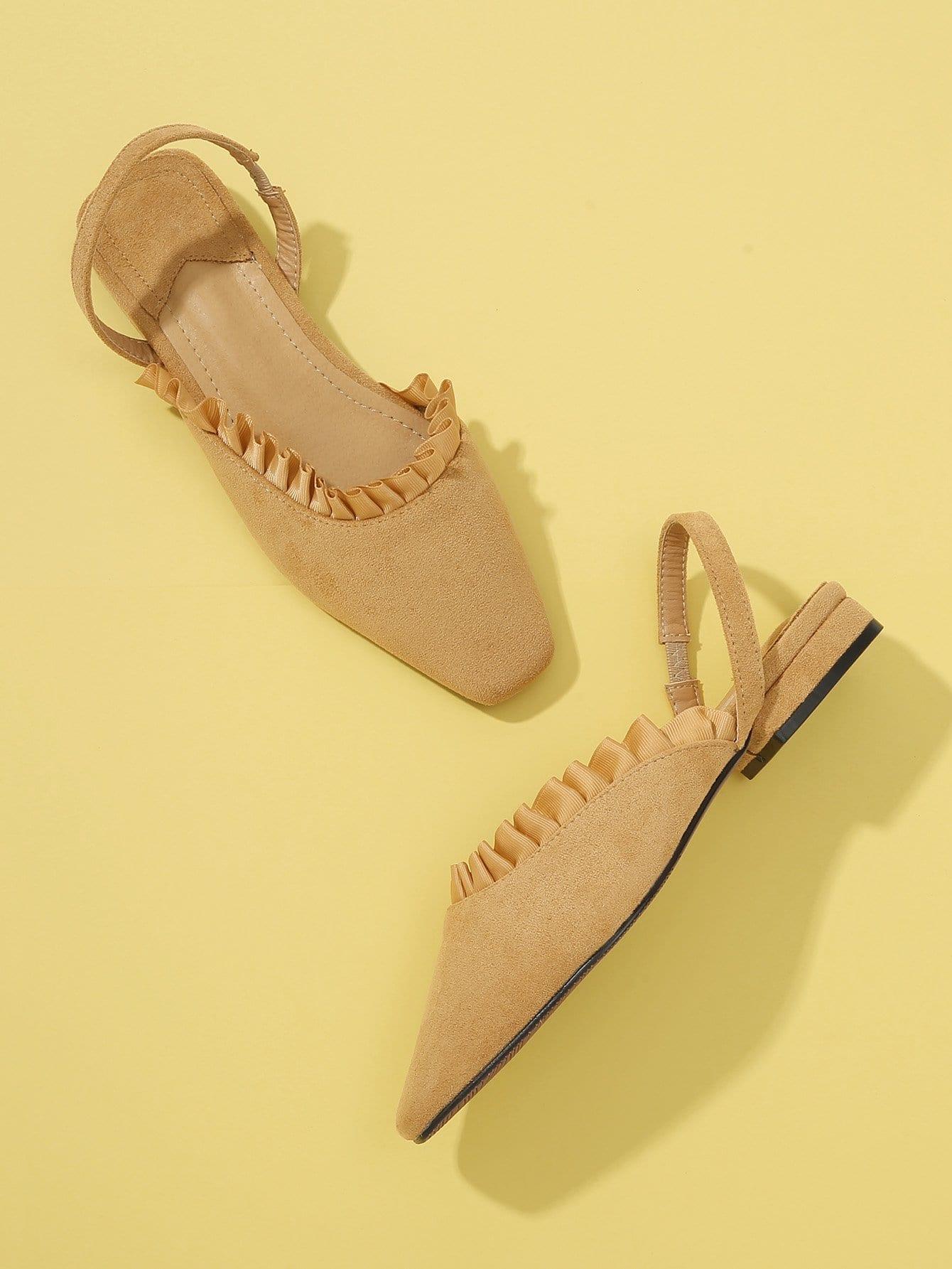 Купить Туфли на плоской подошве с кружевными оборками и открытой пяткой, null, SheIn