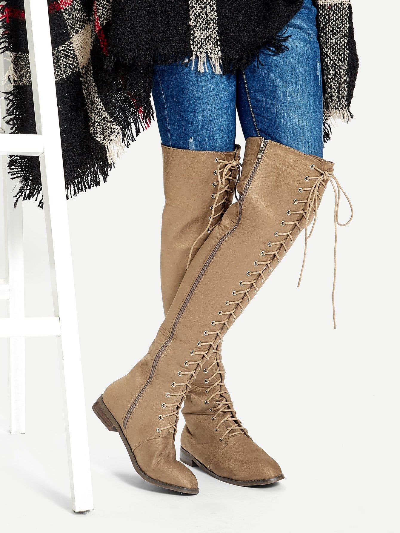 Купить Вязаные высокие сапоги с шнурками, null, SheIn