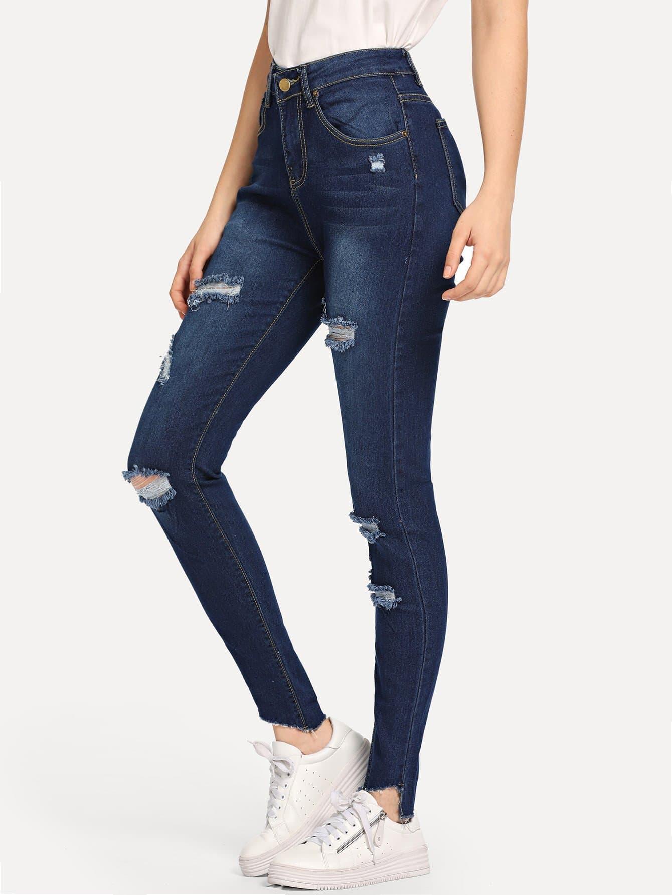 Купить Рваные джинсы с небработанным краем, Jana, SheIn