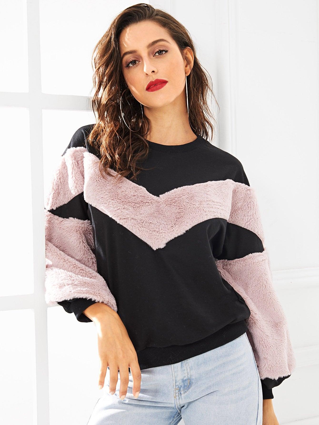 Купить Два тонных вырезать и вышивать свитер, Mary P., SheIn