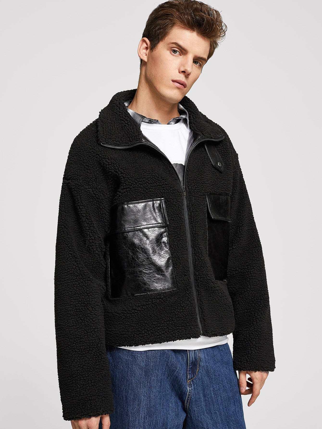 Купить Для мужчин PU тедди куртка на молнии с карманом, Roman P, SheIn