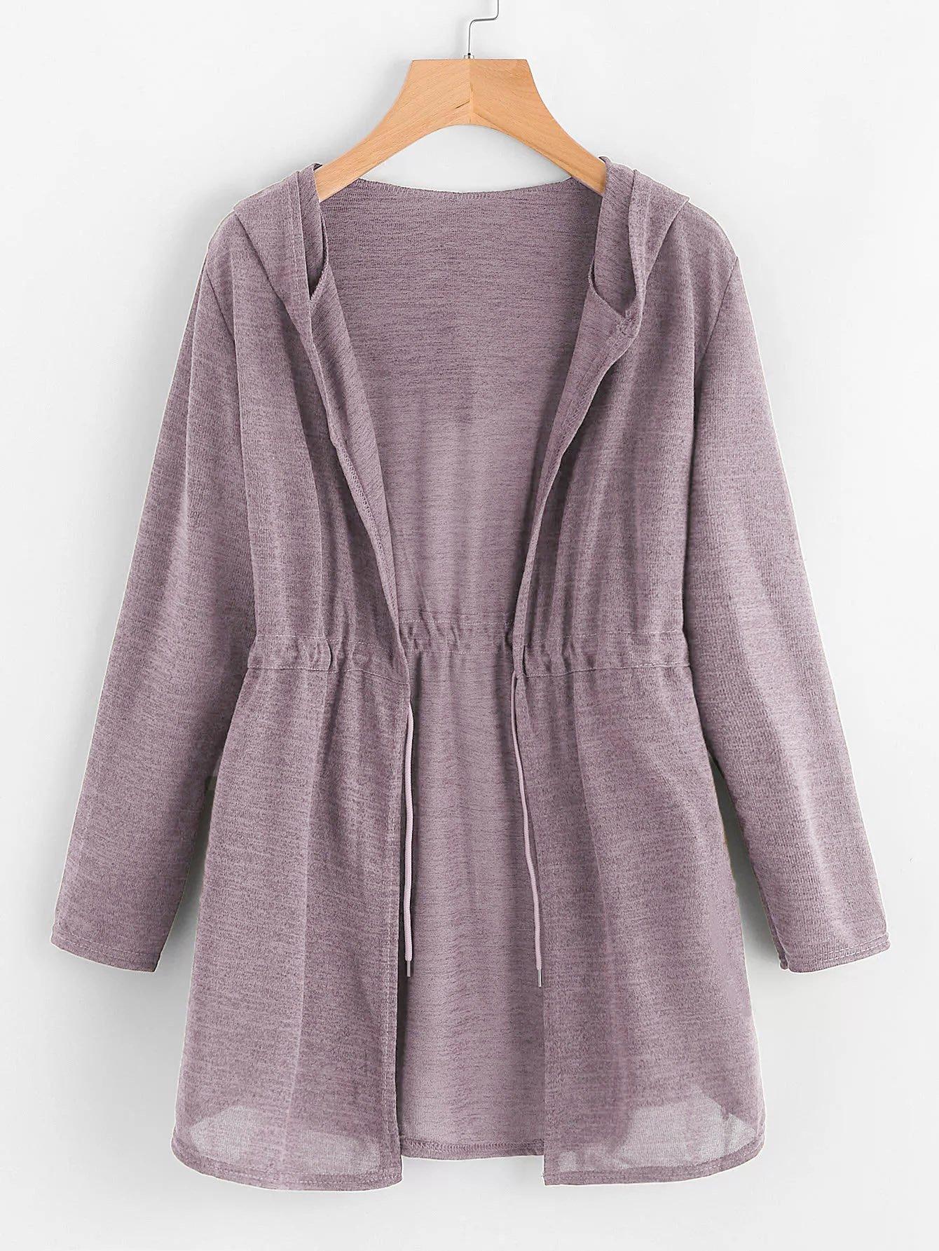 Купить Пальто с капюшоном с кулиской, null, SheIn