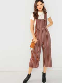 Striped Cropped Button Detail Jumpsuit