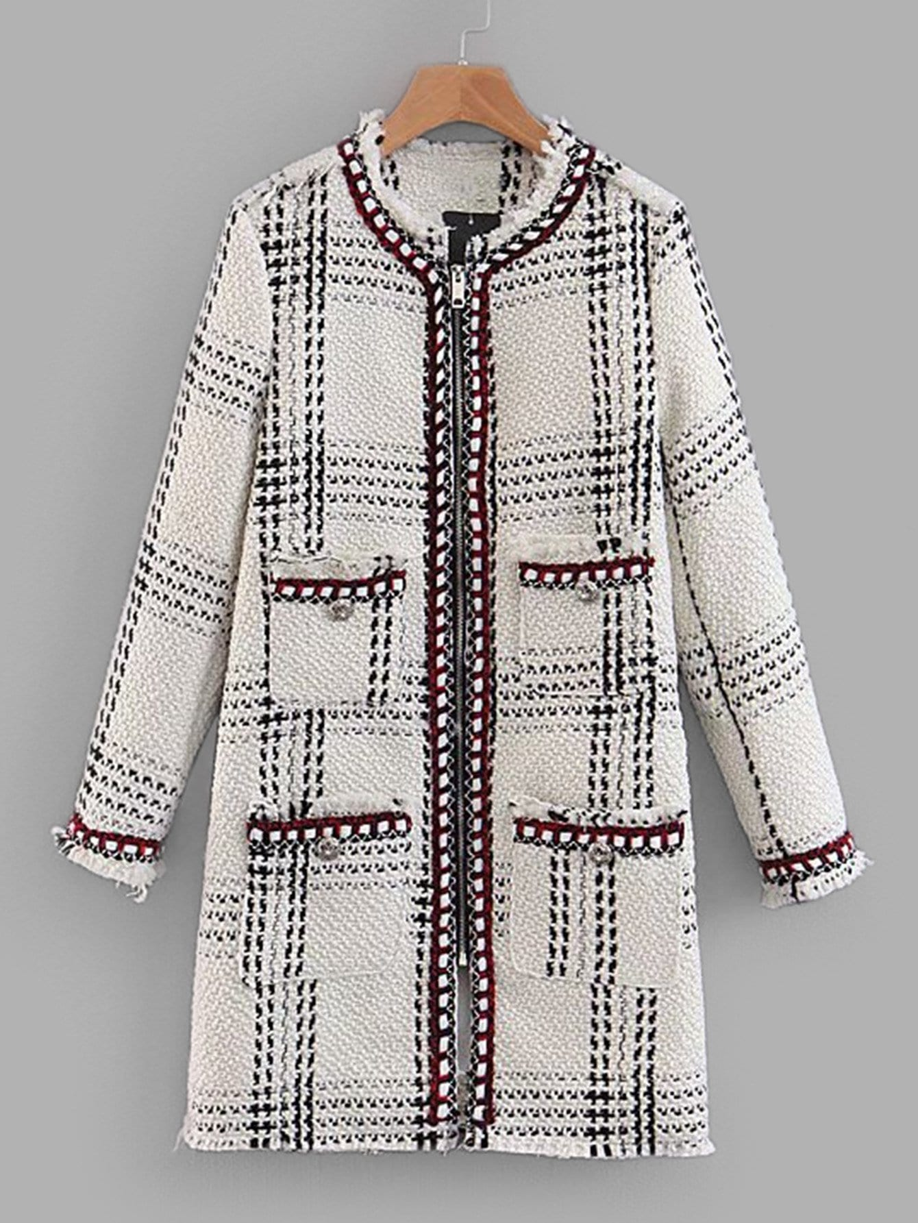 Купить Длинное пальто из твида с небработанными оторочками, null, SheIn