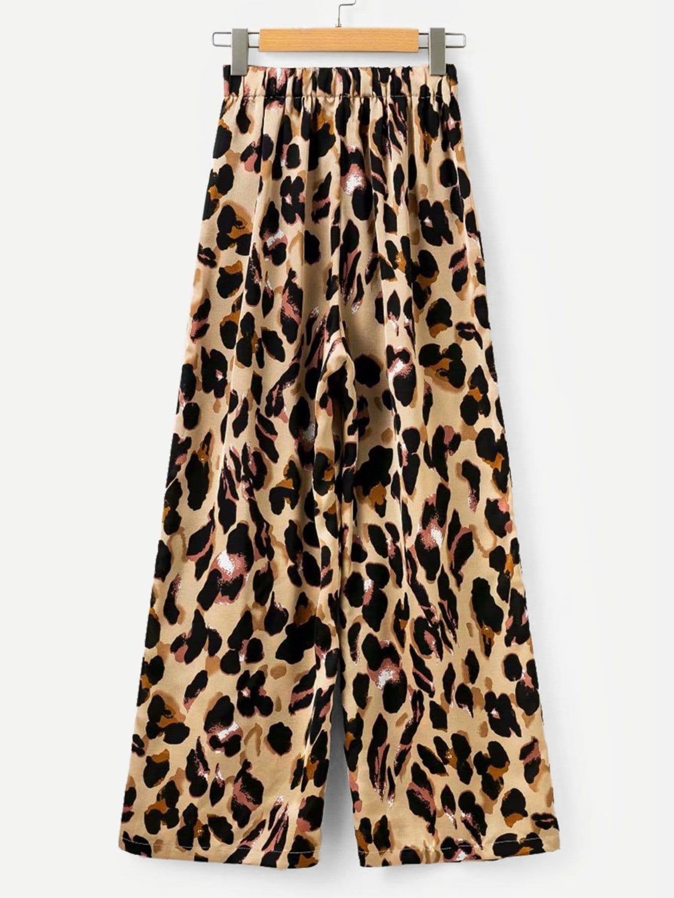 Леопардовые широкие ножыне штаны