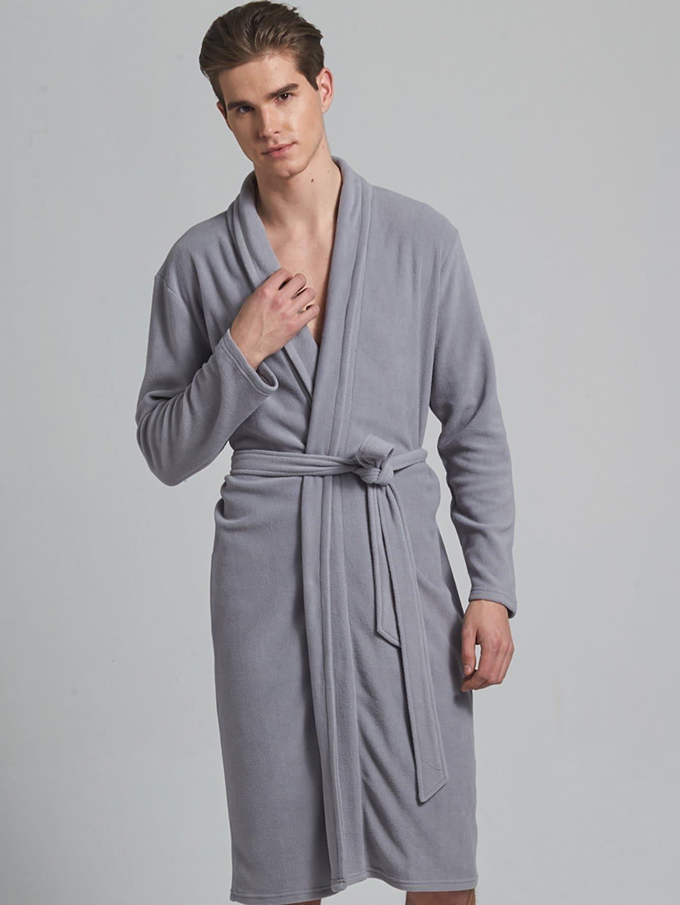 Купить Мужский домашний халат с поясом и запахом, null, SheIn