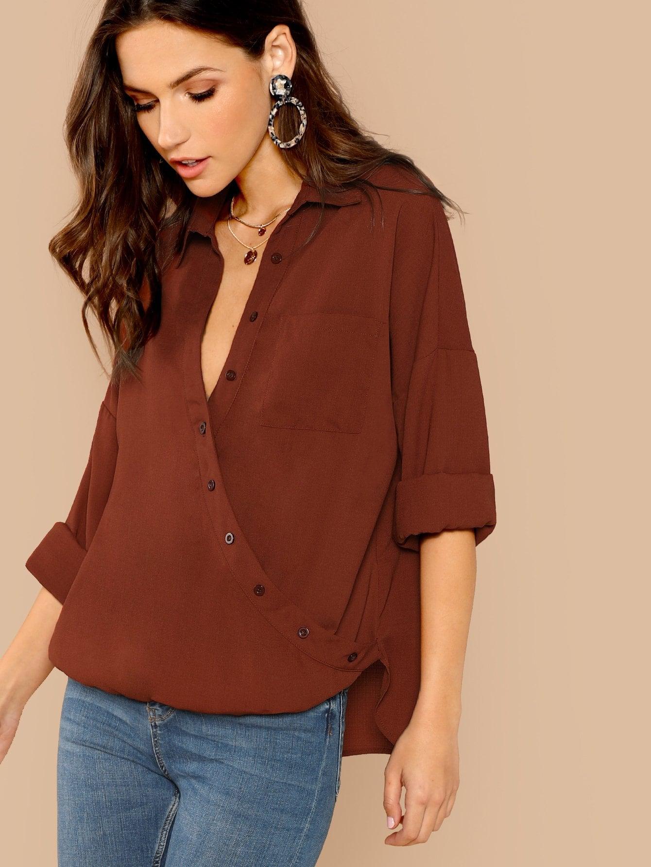 Купить Блуза с запахом и карманами и V-образным вырезом, Zorana, SheIn
