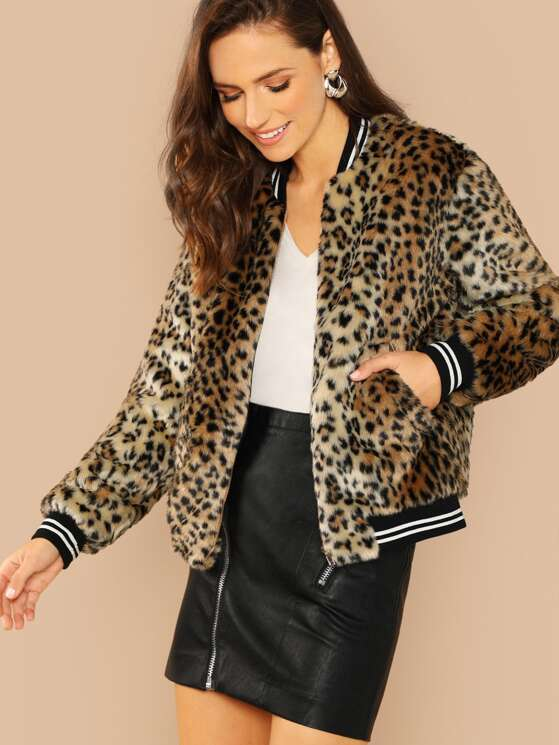 1a50b51026 Contrast Striped Zip Up Leopard Jacket | MakeMeChic.COM