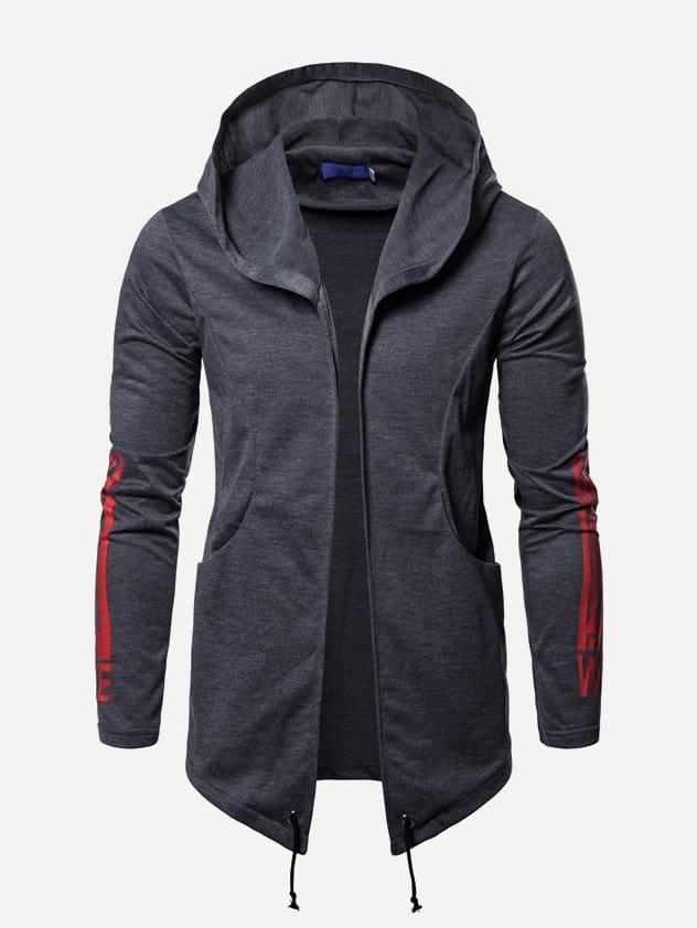 Купить Мужское пальто с капюшоном и подол с кулиской, null, SheIn