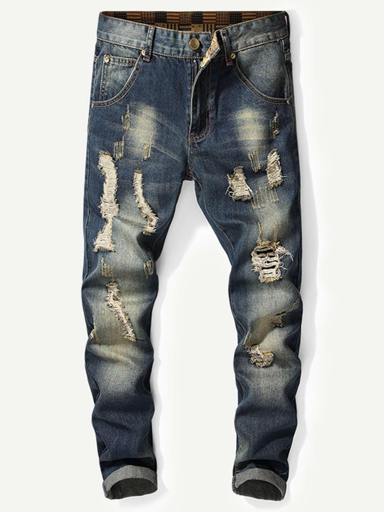 Купить Мужские рваные джинсы и рольный подол, null, SheIn
