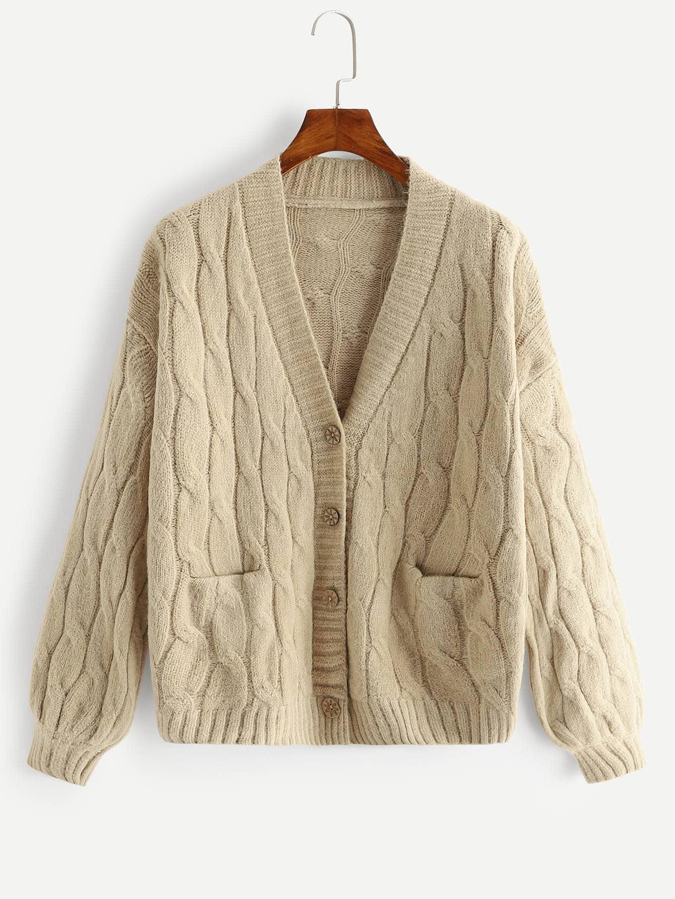 Купить Большое простое вязаное пальто-фуфайки, null, SheIn