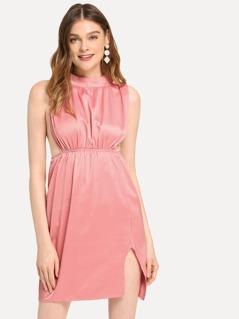 Mock Neck Slit Shell Dress