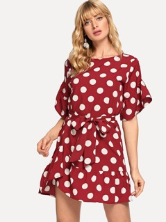 Waist Knot Ruffle Hem Polka Dot Dress