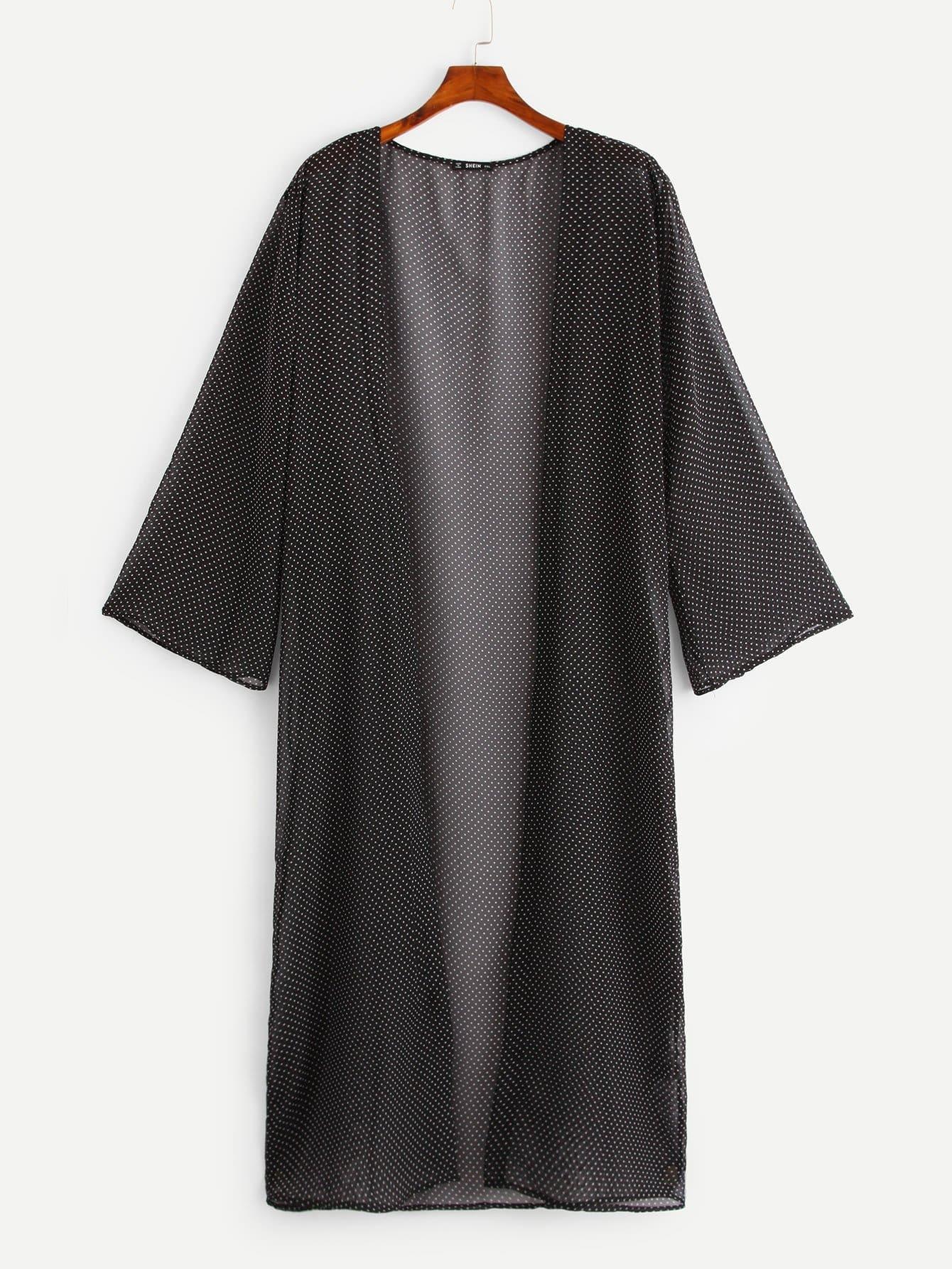 Купить Плюс размеры прозрачное макси кимоно в горошек, null, SheIn