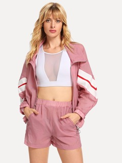 Contrast Striped O-Ring Zip Up Top and Shorts Set