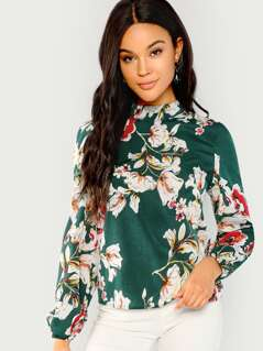 Floral Print Mock Top