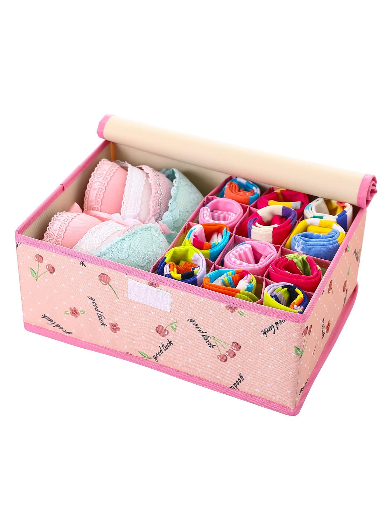 Купить Ящик для хранения нижнего белья с принтом вишен, null, SheIn