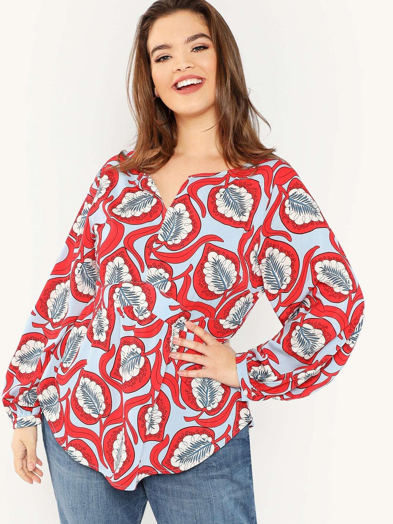 Купить Плюс размеры блузка с растительным притном, Faith Bowman, SheIn