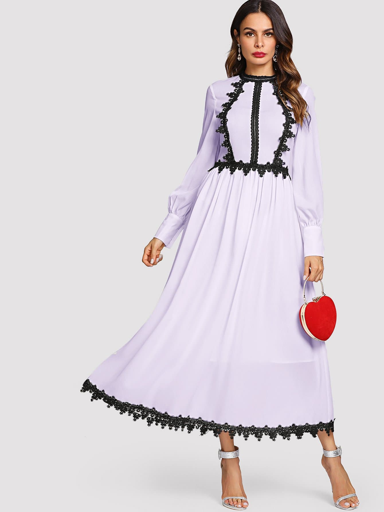 Купить Контрастное кружевное два тона платье-клёш, Andy, SheIn