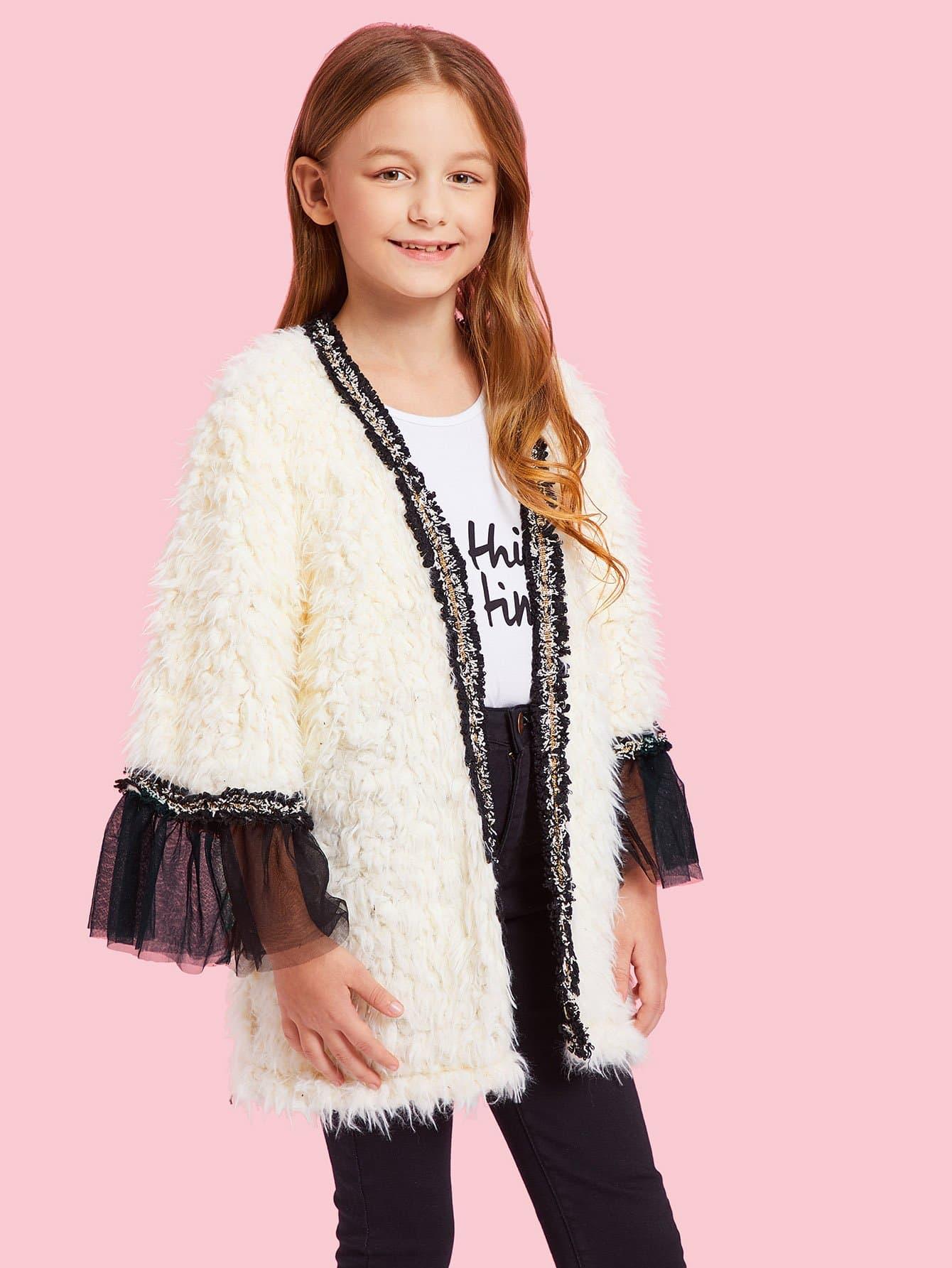 Купить Для девочек куртка из искусственного меха, Sashab, SheIn