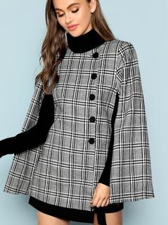 Button Front Plaid Print Coat