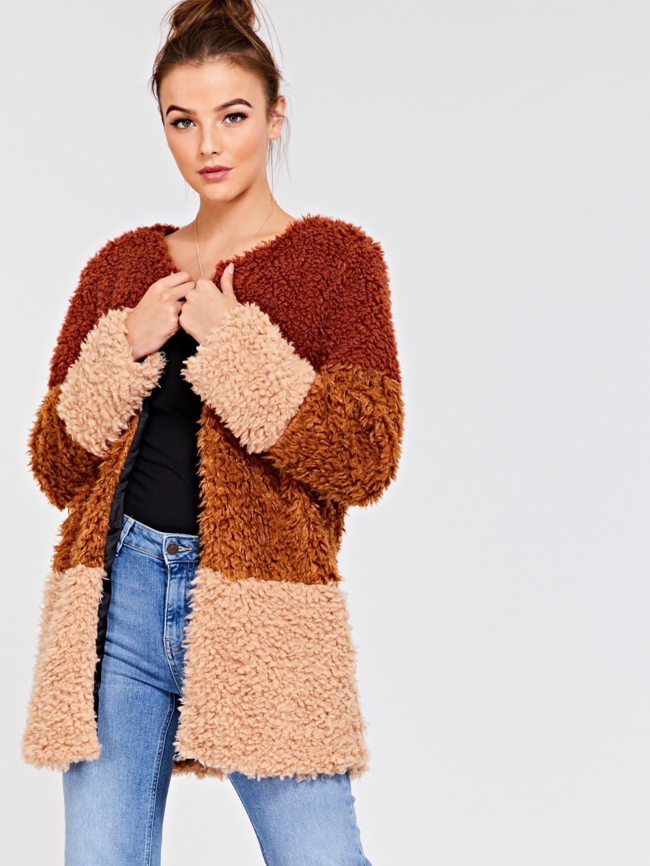 Купить Открытой передней пальто из искусственного меха, Luiza, SheIn