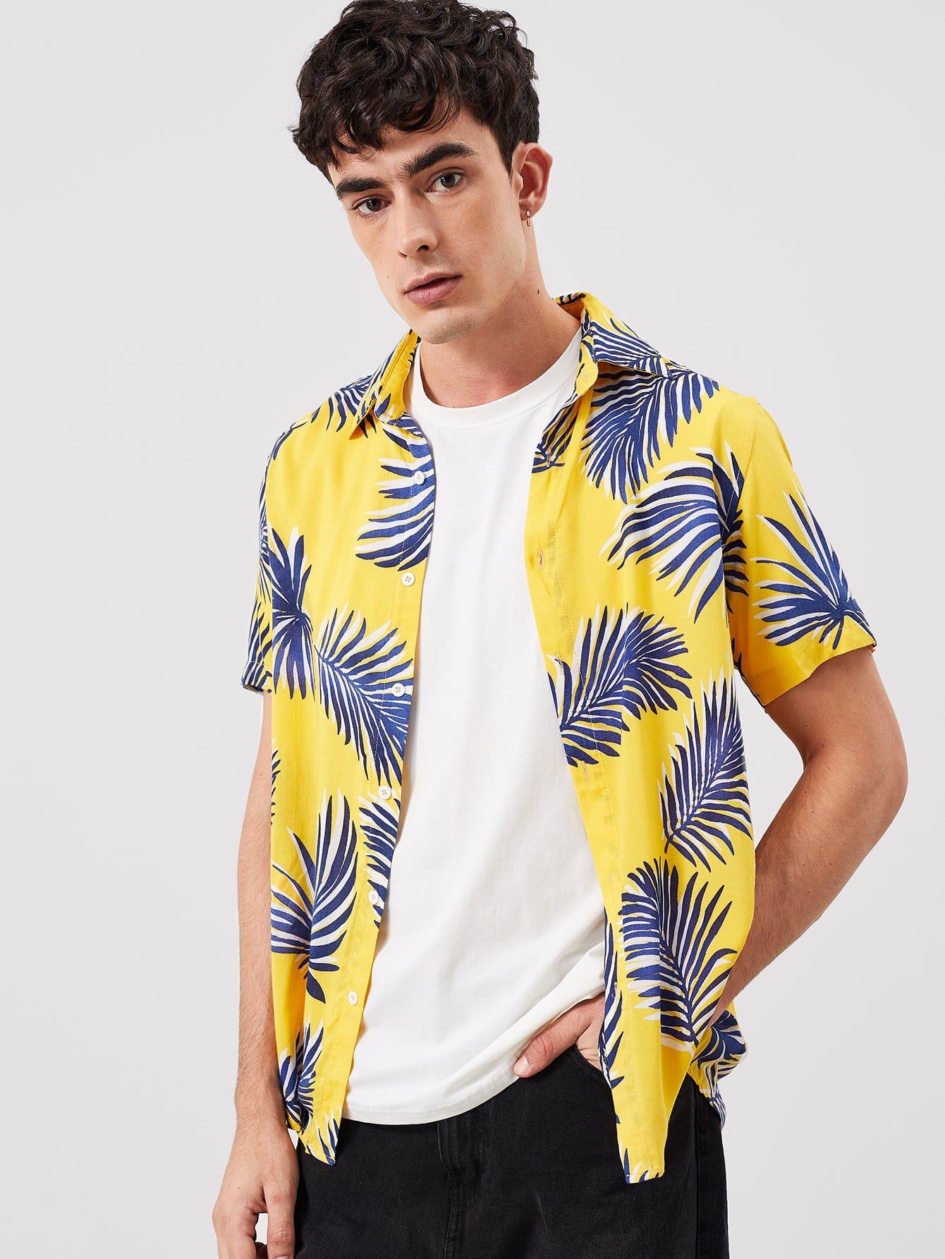 Купить Мужская футболка с принтом листьев пальмы, Antonio, SheIn