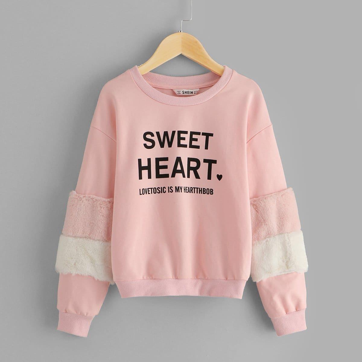 Для девочек пуловер с принтом букв из искусственного меха от SHEIN
