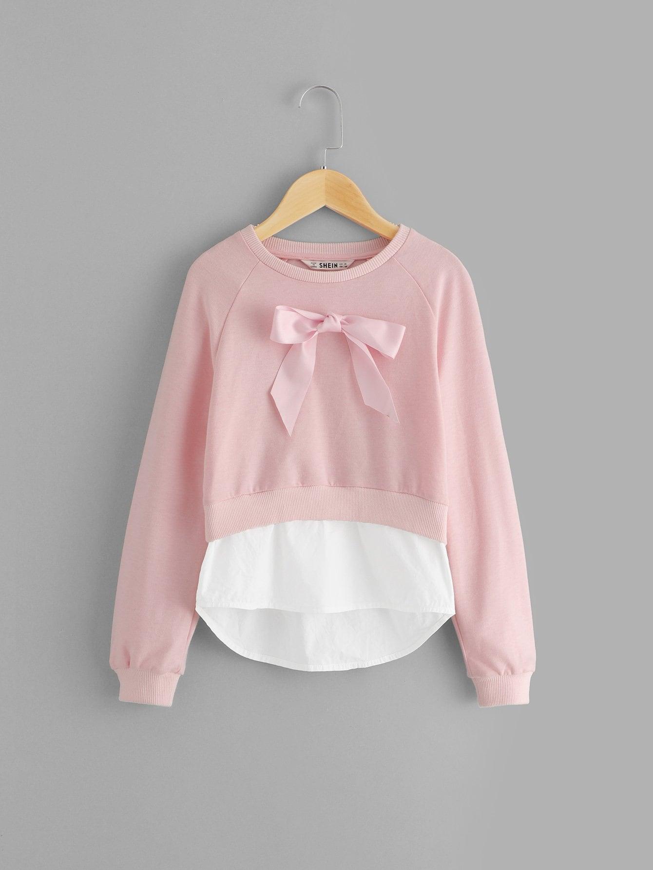 Купить Для девочек пуловер с рукав-регланом с бантом, null, SheIn