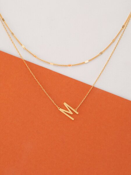Dainty Layer Gold Chain Letter M Pendant Necklace
